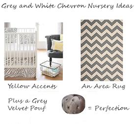 Grey white and yellow chevron print gender neutral baby nursery ideas