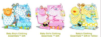 Baby shower gift baskets for boys, girls or for both in gender neutral colors like green and yellow.