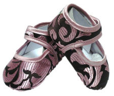 Pink and brown champagne damask baby girl crib shoes for $10