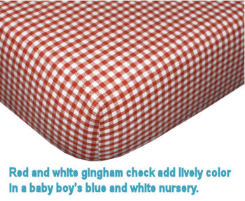 Red and white gingham check baby crib bedding for a baby nursery room