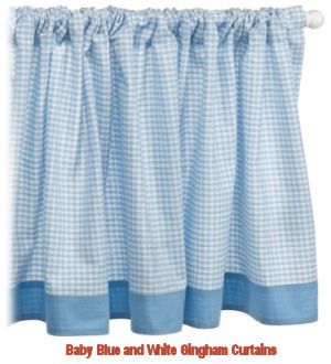 Baby blue and white gingham checks nursery window valance for a baby boy room