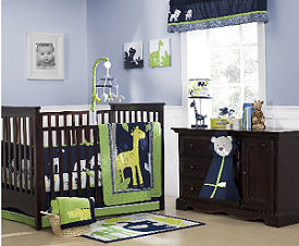 Unisex gender neutral safari jungle baby giraffe bedding crib set in a nursery with lavender wall paint color