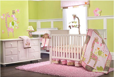Pink giraffe baby bedding set Carter's Jungle Jill with zebra and polka dots print in a lime green girl nursery room