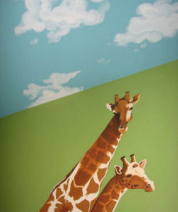 Cloud painting on the ceiling of a baby jungle theme nursery room