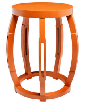 Bright orange accent table for a baby nursery room