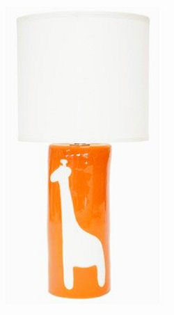 Orange baby giraffe nursery lamp with white shade