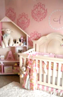 Pink girl nursery wall painting ideas using damask stencils