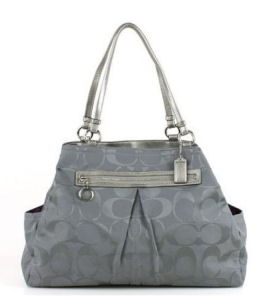Coach Large Gabby Signature Tote Baby Diaper Bag in Silver and Grey Gray