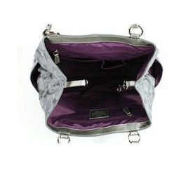 Purple inside view of the large, authentic Coach Gabby Signature Tote Baby Diaper Bag 14863 in Grey (gray) Silver and purple