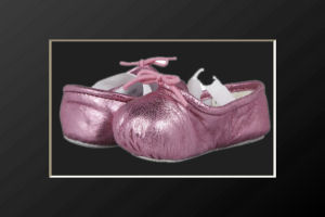 Shiny pink metallic ballet flat baby girl crib shoes