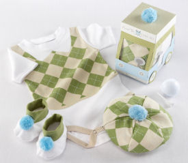 A sweet baby golf clothes set in argyle with shoes and a hat make lovely baby shower gifts