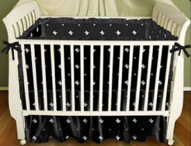 Black and white skulls punk gothic crib bedding set nursery design ideas