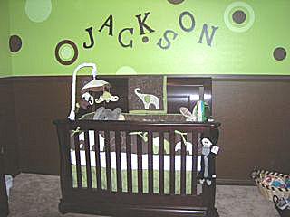 Green and Brown Baby Elephant Theme Nursery with Polka Dots on the Wall Decorated our Baby Boy Jackson