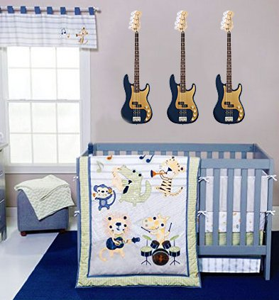 musical note guitar baby bedding crib nursery set
