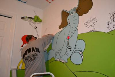 Hand Painted Dr Seuss Nursery Wall Art - This nursery mural is so colorful and FUN!