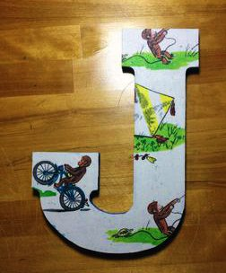 Hand painted motocross theme wooden baby nursery wall letters featuring monkeys riding motorcycles