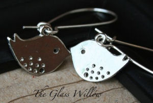handmade silver earrings baby bird wild jewelry french wires dangle