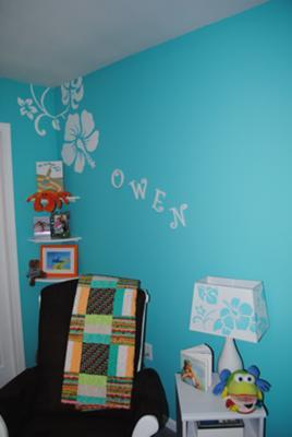 Blue and White Hawaiian Nursery Wall Painting Ideas