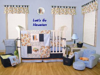 Tropical Hawaiian baby nursery theme decorating ideas and crib bedding set