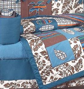 Tropical Hawaiian baby nursery crib bedding set with palm trees and hibiscus print fabric