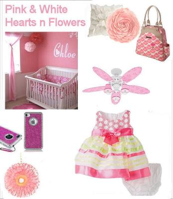 Inspiration and Decorating Ideas Board for a Hearts n Flowers Pink and White Baby Girl Nursery Room Theme