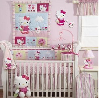Hello Kitty 4 piece baby nursery crib bedding set with mobile, rug, wall decorations and fleece blanket