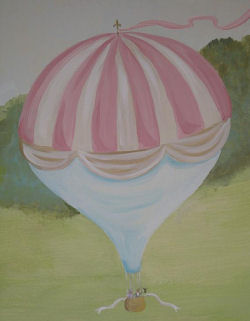 pink old english garden hot air balloon drawing painting