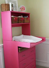 hot pink custom painted baby nursery change changing table