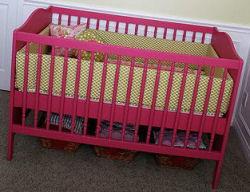 hot pink baby crib baby girl green nursery bedding set homemade custom Amy Butler fabric