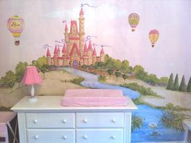 Baby girl pink princess castle hot air balloon nursery theme
