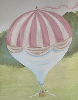 Pink hot air balloon baby nursery wall mural painting in gold cream pink and green for an English garden room theme