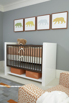Modern bear silhouette framed art prints on the wall of a modern baby nursery room