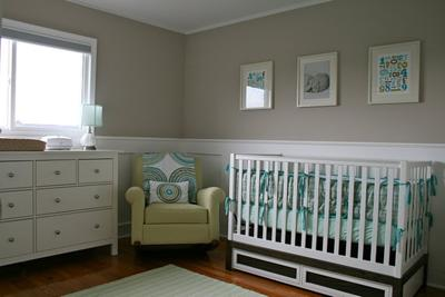View of the baby's traditional/transitional nursery.  The colors are teal, aqua blue and avocado green.