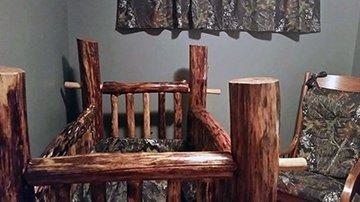 Custom made Mossy Oak Breakup Camo baby crib bedding nursery curtains and rocking chair cushions