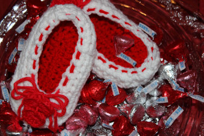 I Love Valentine's Day Crochet Baby Ballet Slippers with Crocheted Hearts