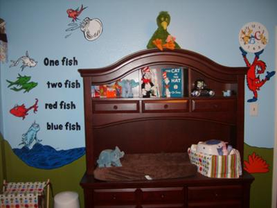 One Fish Two Fish... Fox in Socks, and fish from The Cat in the Hat - changing table/dresser and door