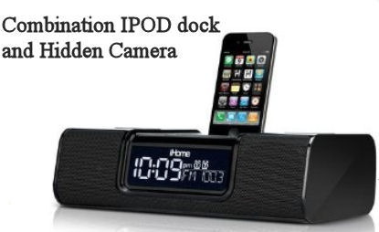 Hidden camera in a clock radio IPOD Iphone dock docking station