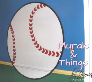 Large baseball baby nursery wall mural with chair rail