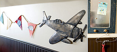 Airplane baby nursery wall decor with vintage plane and colorful banner
