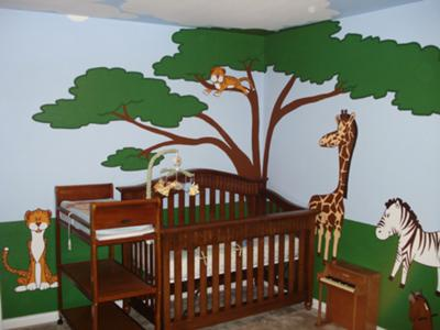 Jonas' safari nursery theme wall mural with paintings of a Giraffe, Zebra, Monkeys and a friendly lion and tiger or two!