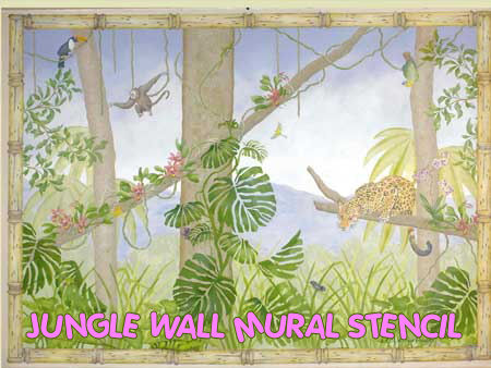 paint by number jungle baby nursery wall mural stencil pattern