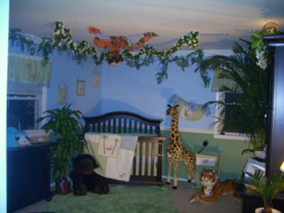 Baby Boy's Jungle Themed Nursery Decor in Blue, Green and White