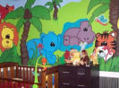 gender neutral colorful blue elephant hippopotamus zebra print giraffe safari jungle nursery animals wild zoo wall mural painting technique pictures
