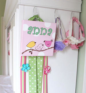 Handmade pink and green baby bird nursery art with polka dots, birds and a baby girl's name