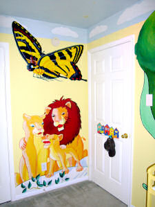 butterfly lions cubs painting wall nursery wall mural baby