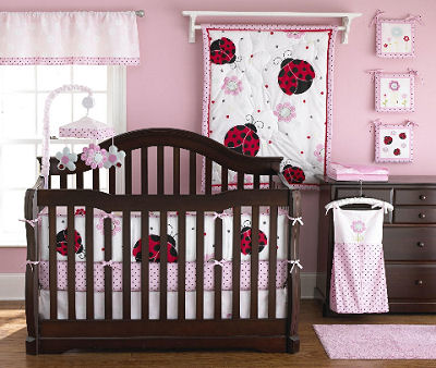 Pink and brown, red and black mod baby girl ladybug nursery crib bedding sets.