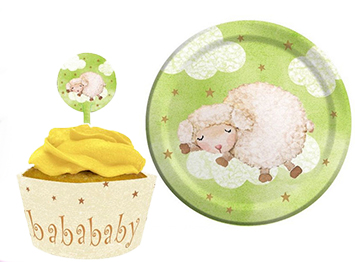 Lamb baby shower cupcakes party decorations and tableware