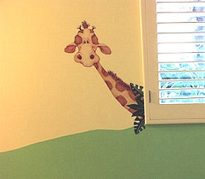 Large baby nursery giraffe wall decals and stickers