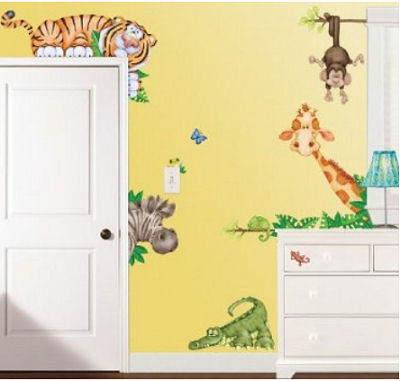 Large jungle theme wall decals with giant size baby animals stickers including monkeys, zebras, giraffes elephants, tigers and alligators