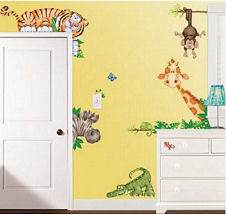 Large baby jungle animals nursery wall decals for murals